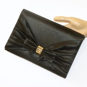VTG Black Satin BOW Evening Bag RHINESTONE Gold